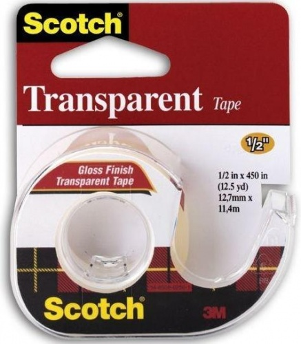 Лента клейкая SCOTCH TRANSPARENT 144, на диспенсере, прозрачная, 12,7 ммх11,4 м 3M