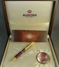 Ручка-роллер Aurora Leonardo Da Vinci Limited Edition, Gold Plated & Red Lacquer GT