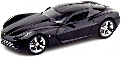 Автомобиль 2009 Corvette Stingray Concept - Glossy Black 1:18 Jada Toys
