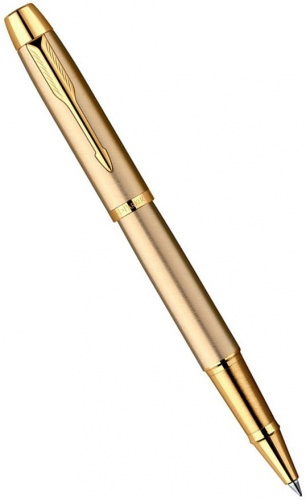 Ручка роллер Parker IM Metal T223, Brushed Metal Gold GT
