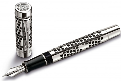 Перьевая ручка Parker Duofold Senior 125th Anniversary Limited Edition F100, Silver (Перо M)