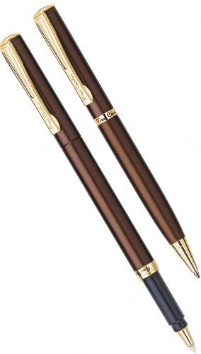 Набор: ручка шариковая + роллер Pen and Pen Pierre Cardin, Lacquer Brown GT