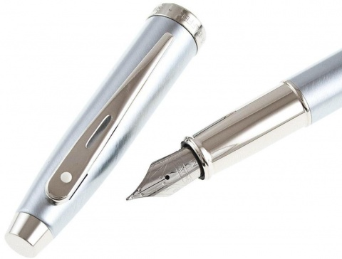 Перьевая ручка Sheaffer 100, Brushed Chrome Plated Finish Nickel CT (Перо F)