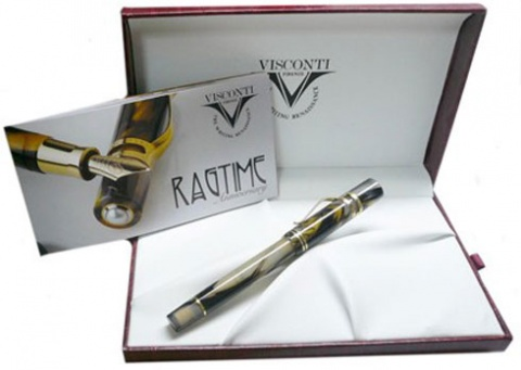 Ручка роллер Visconti Ragtime 20th Anniversary Limited Edition, Amber and black marble GT