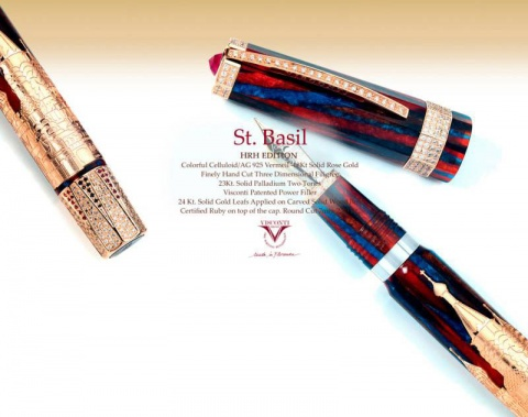 Перьевая ручка Visconti Saint Basil Cathedral Tribute Silver Vermeil LE, Colorful Marble GT (Перо F)