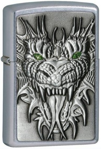 ��������� Zippo Green Eyed Monster Emblem Street Chrome
