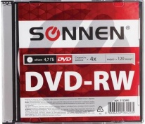 Диск DVD-RW (минус) SONNEN, 4,7 Gb, 4x, Slim Case (1 штука), 512580