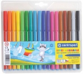 Фломастеры Super Washable 18цв., блистер, европодвес Centropen