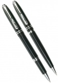 Набор: ручка шариковая + роллер Pen and Pen Pierre Cardin, Lacquer Black CT
